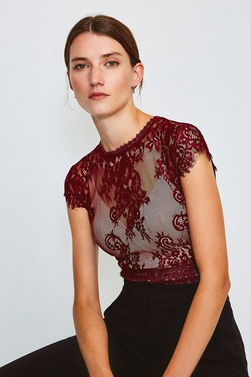 Aubergine Short Sleeved Open Back Lace Body