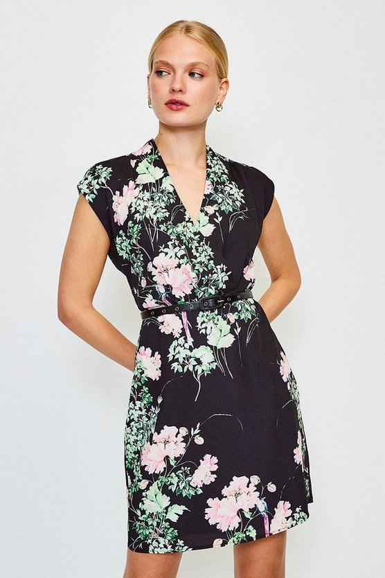 Black Oriental Bird Print Belted Wrap Sleeveless Dress