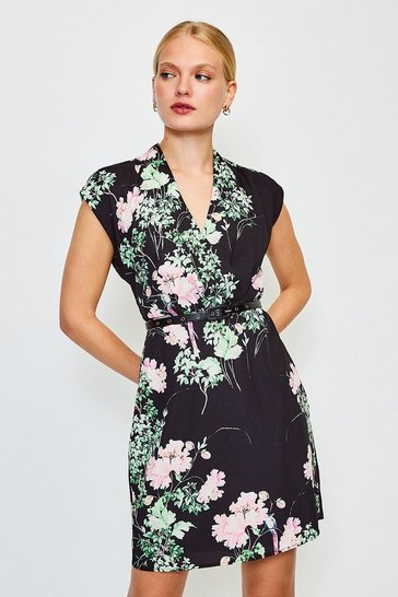 Black Oriental Bird Print Belt Wrap Dress