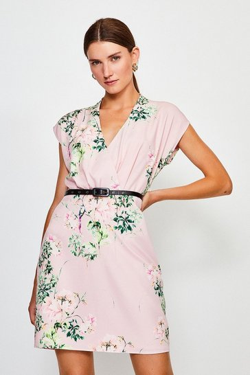 Blush Oriental Bird Print Belted Wrap Sleeveless Dress