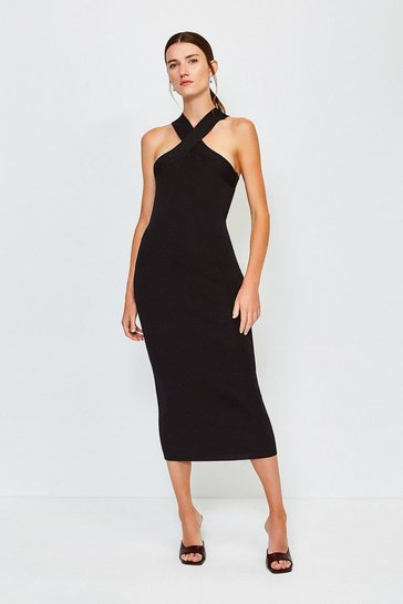 Black Sleeveless Knitted Dress