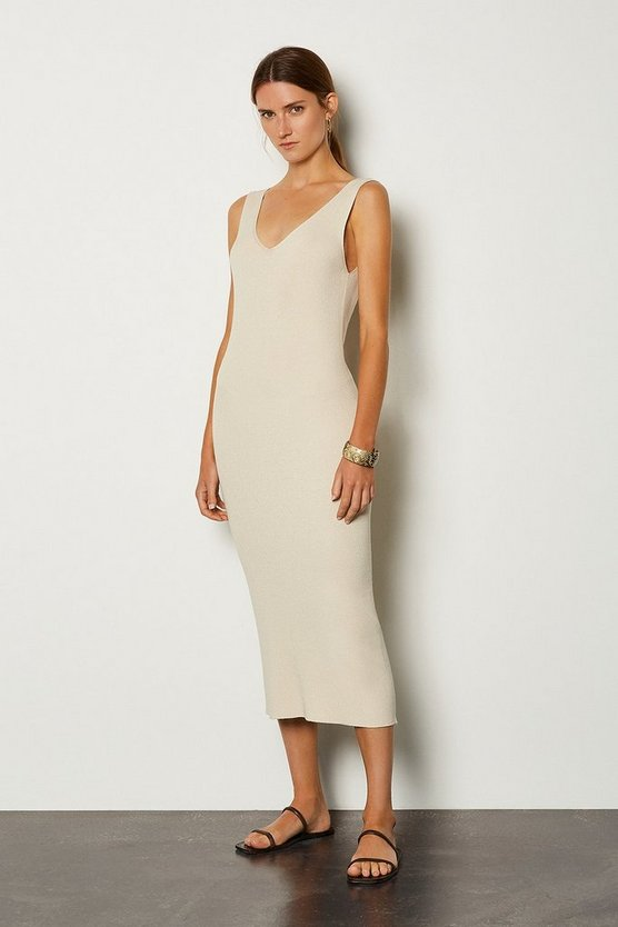 Beige Knitted V Neck Dress