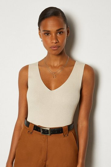 Beige V Neck Knitted Tank Top