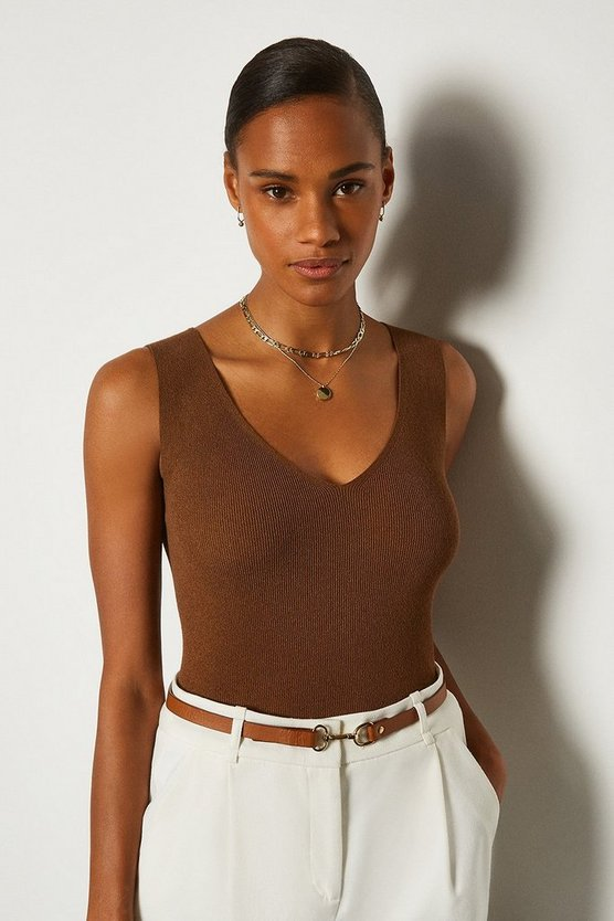 Brown V Neck Knitted Tank Top