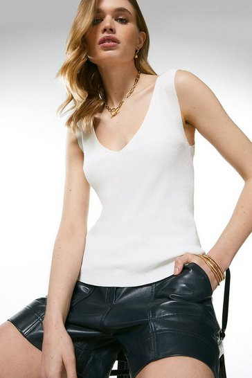 Ivory V Neck Knitted Tank Top
