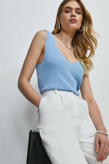 Pale blue V Neck Knitted Tank Top