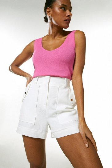 Pink V Neck Knitted Tank Top