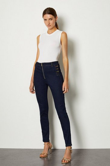 Indigo Skinny Button Detail Jean