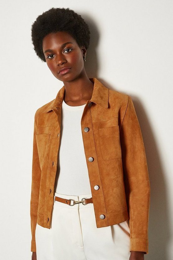 Tan Suede Pocket Front Jacket