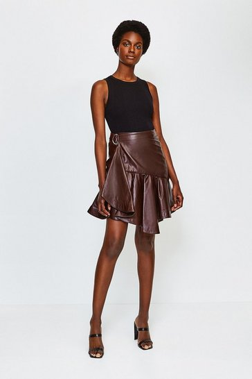 Aubergine Leather Flippy Mini Skirt