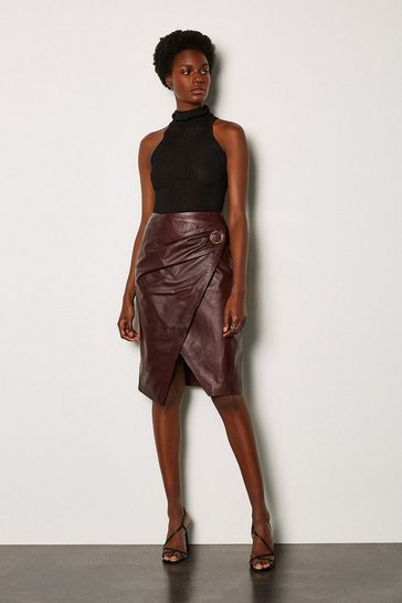 Aubergine Leather Wrap Pencil Skirt