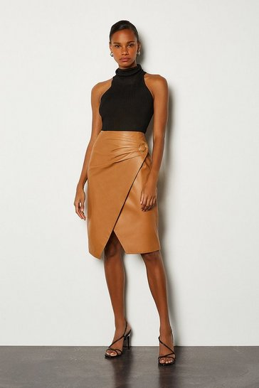 Tan Leather Wrap Pencil Skirt