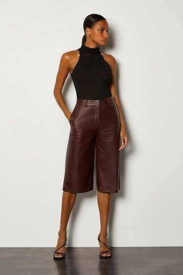 Aubergine Leather Wide Leg Cropped Trouser