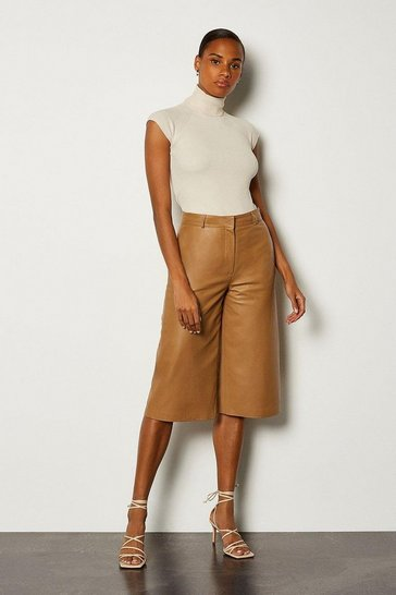 Rust Leather Wide Leg Cropped Trouser