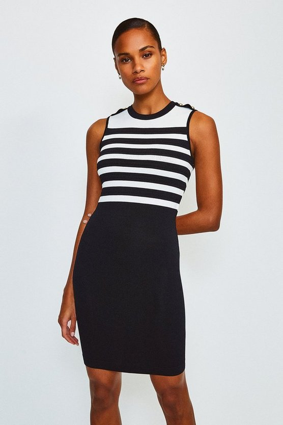 Blackwhite Button And Stripe Knitted Dress