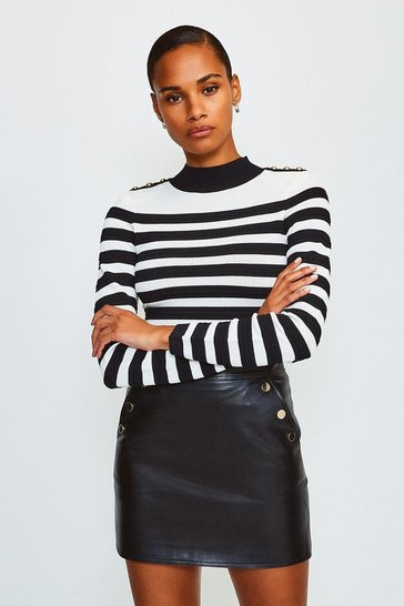 Blackwhite Button and Stripe Knitted Jumper