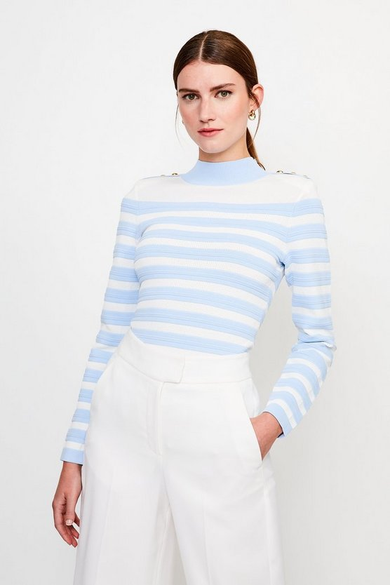 Pale blue Button and Stripe Knitted Jumper