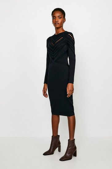 Black Pointelle Cutwork Knitted Dress