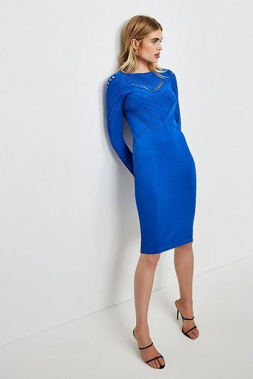 Cobalt Pointelle Cutwork Knitted Dress