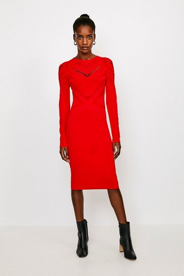 Red Pointelle Cutwork Knitted Dress
