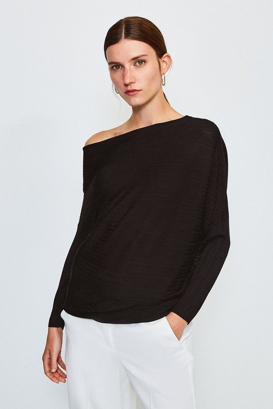 Black Knitted Rib Drape Shoulder Top