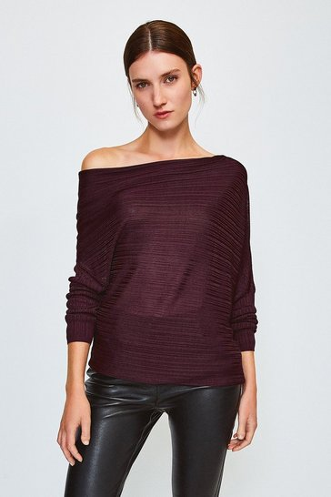 Wine Knitted Rib Drape Shoulder Top
