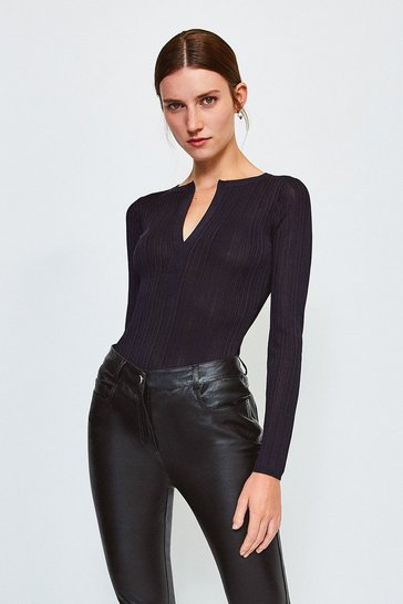 Navy Knitted Rib Deep V Top