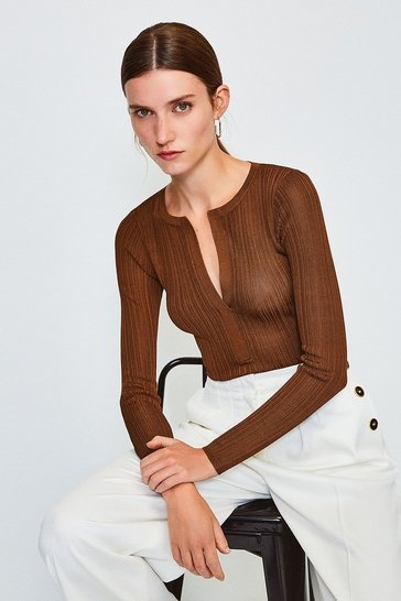 Rust Knitted Rib Deep V Top