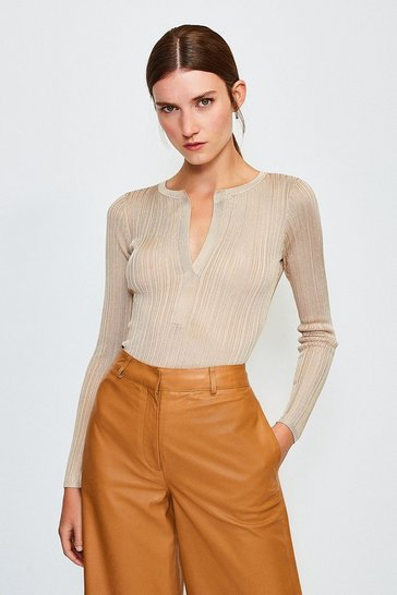 Stone Knitted Rib Deep V Top