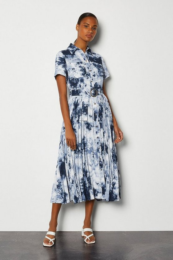 Blue Tie Dye Pleated Belted Dress