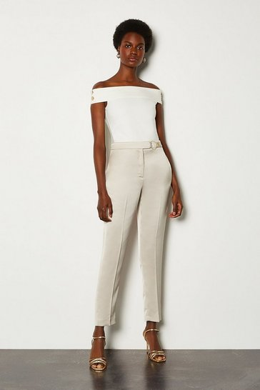 Natural D Ring Belted Peg Trouser