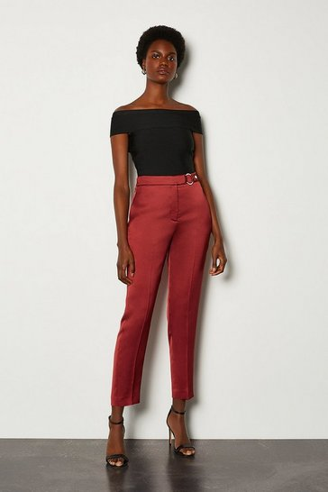 Rust D Ring Belted Peg Trouser