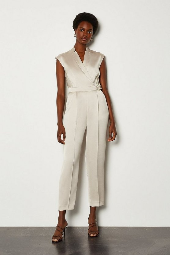 Natural D Ring Collar Wrap Jumpsuit