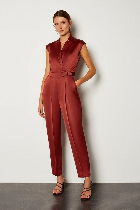 Rust D Ring Collar Wrap Jumpsuit
