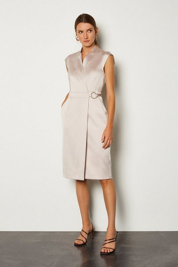 Natural D Ring Detail Collar Wrap Dress