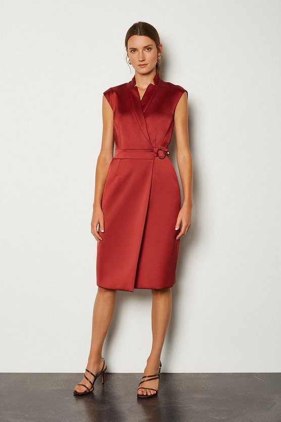 Rust D Ring Detail Collar Wrap Dress