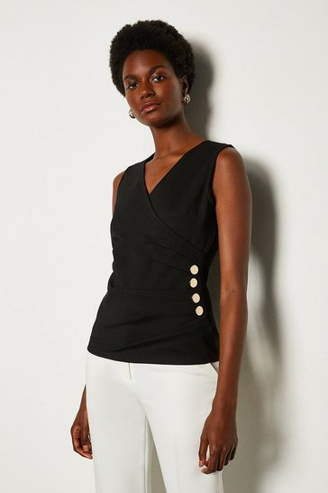 Black Pleat Detail Hardware Ponte Top