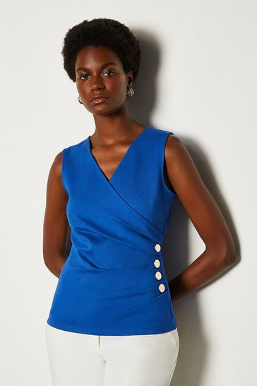Cobalt Pleat Detail Hardware Ponte Top