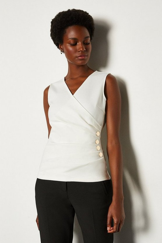 Ivory Pleat Detail Hardware Ponte Top