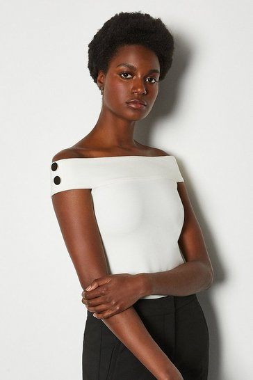 Ivory Rivet Detail Bardot Ponte Top