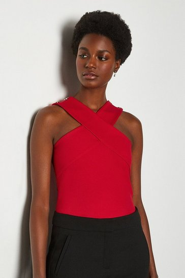 Red Rivet Detail Cross Neck Ponte Top