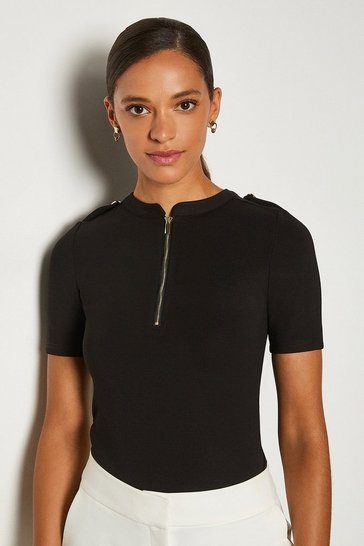 Black Short Sleeve Military Ponte Top