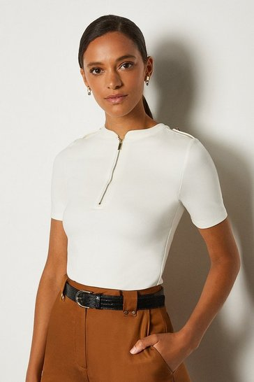 Ivory Short Sleeve Military Ponte Top