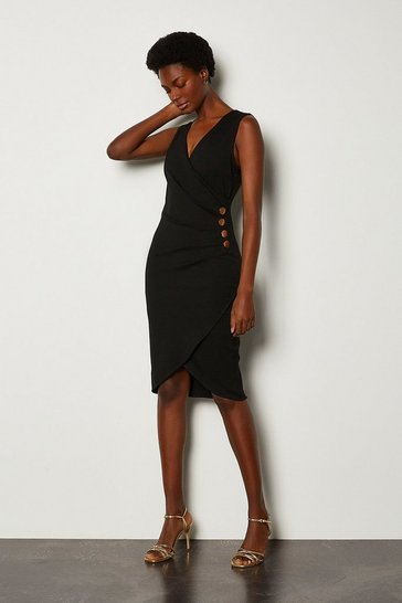 Black Pleat Detail Hardware Ponte Dress
