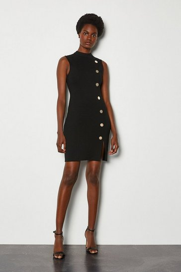 Black Rivet Ponte Dress