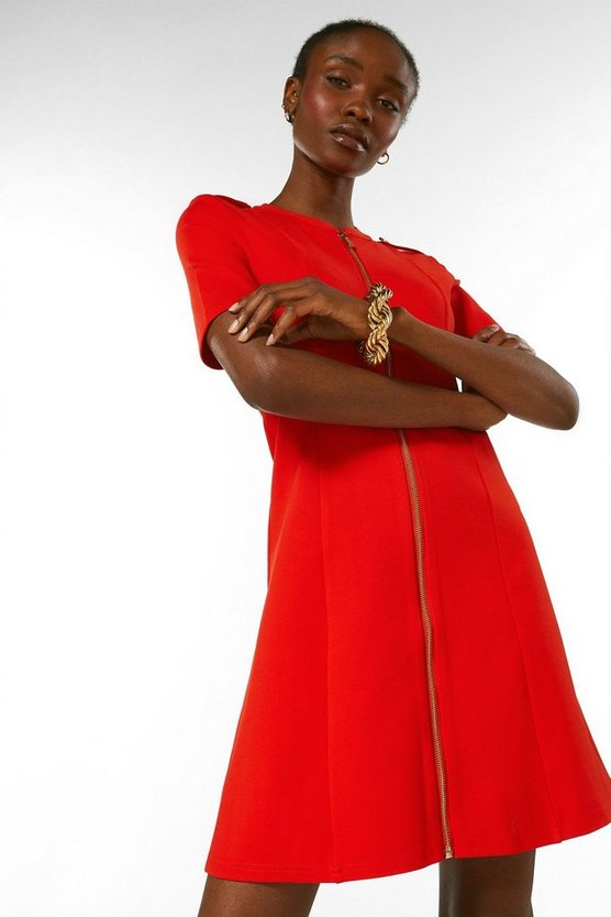 Red Military Ponte Dress