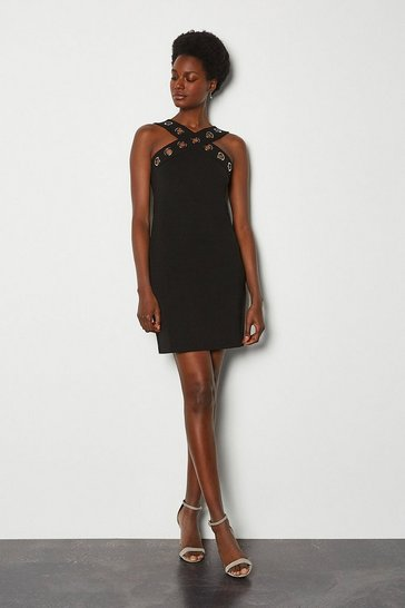 Black Ponte Eyelet Halter Dress