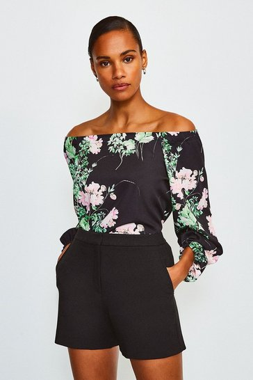 Black Floral Print 3/4 Sleeve Bardot Top