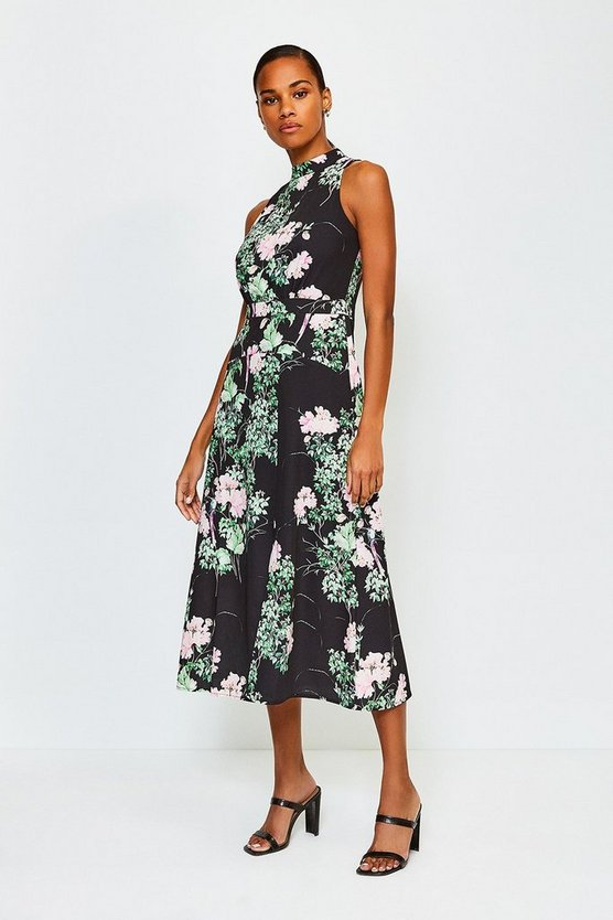 Black Floral Print Sleeveless Midi Dress