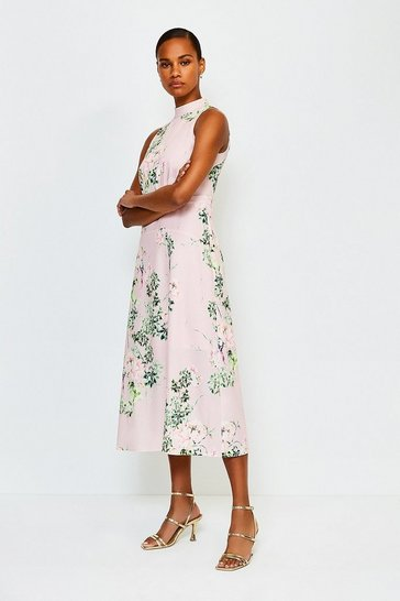 Pink Floral Print Sleeveless Midi Dress